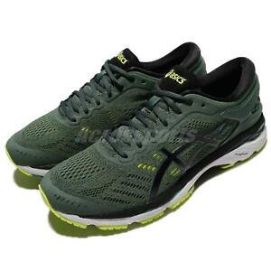 Asics-Gel-Kayano-24-Foret-Sombre-Vert-Noir-Hommes-Chaussures-De-Course-Baskets-T749N-8290