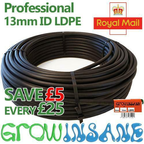 Black LDPE Supply Pipe 13mm ID (1/2) inch Irrigation - Garden Watering Tube