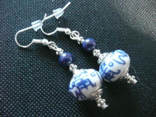 Vintage Art Deco Style Blue Lapis Lazuli Ancient Caligraphy Long Earrings Prom