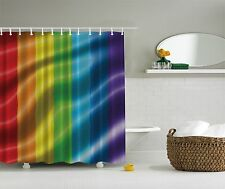 Bright Rainbow Colors Fabric Shower Curtain Digital Art Bathroom