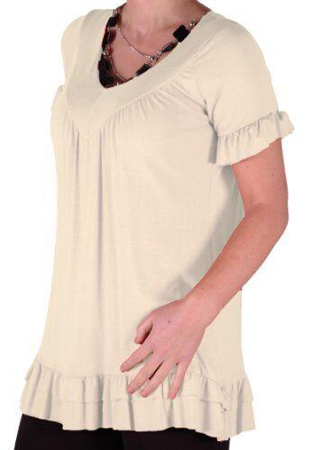 Damen Kurzarm Oberteile mit V Ausschnitt Krause beilaufige Bluse Tunika