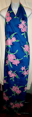 Hawaiian Pareau Sarong Blue Floral -- One Dress, One Size, 14 Different Looks