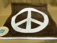 Pottery Barn Teen Fuzzy Peace Sign Reversible Bed Sofa Pillow Cover 18 Brown