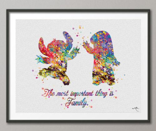 Lilo and Stitch Family Quote Watercolor Print Nursery Wall Art Kids Decor Art