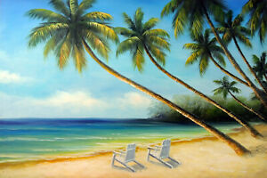 Hawaii-Caribbean-Beach-Chairs-Palm-Trees-Sand-Shore-STRETCHED-Oil-Painting-24x36