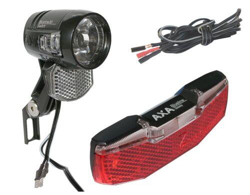 Fahrrad LED Lichtset für Nabendynamo 30 LUX Blueline, Rücklicht, Scheinwerfer