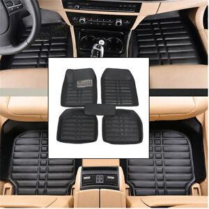 5pcs-Set-Car-Floor-Mats-Flex-Tough-PU-Leather-Semi-Custom-Black-Front-Rear-Liner