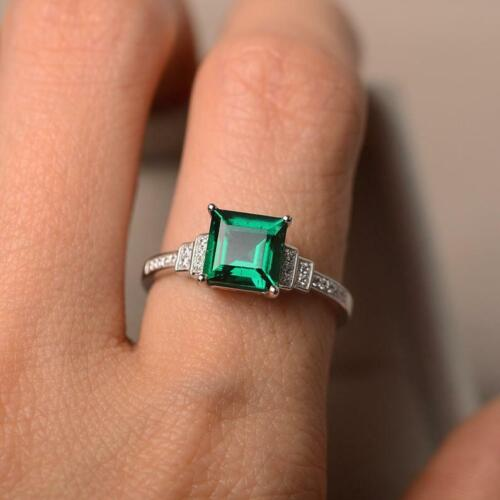 Details about  /925 Sterling Silver Natural Certified 5Ct Emerald Stone Cluster Ring For Beloved