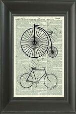 ORIGINAL- Penny Farthing Bike Vintage Dictionary Art Print Wall Hanging 401D