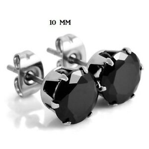 paire boucle d 39 oreille homme femme tige acier grosse zircon ronde noire 10mm k ebay. Black Bedroom Furniture Sets. Home Design Ideas