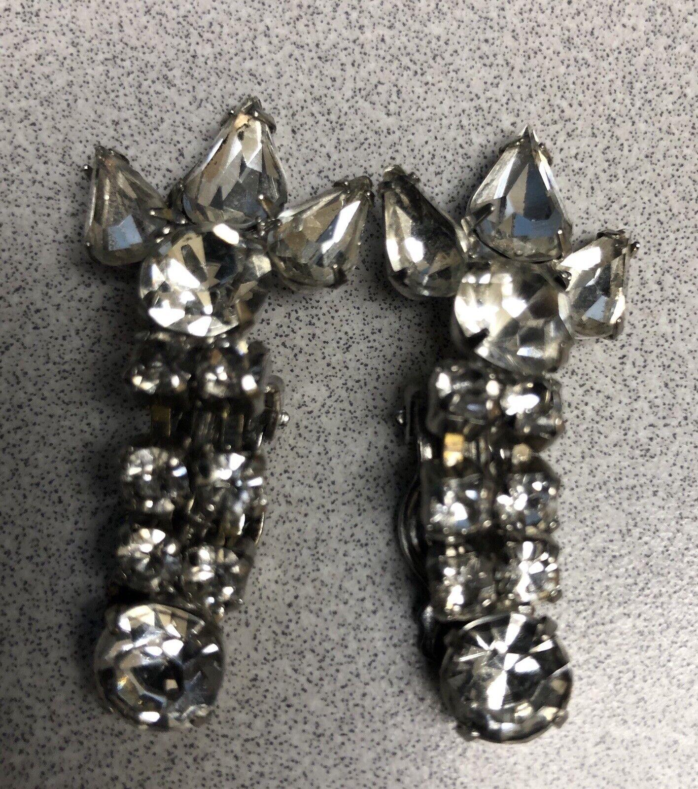 Vtg Clip Earrings  Dangle Rhinstones - image 2