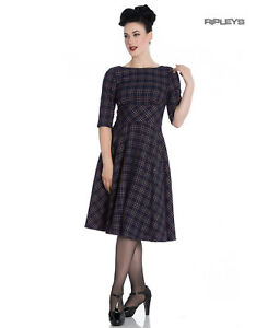 Hell-Bunny-40s-50s-Pin-Up-Wartime-Dress-Peebles-NAVY-Blue-Tartan-All-Sizes