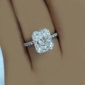 Image Is Loading Radiant Cut Platinum Diamond 2 30 Carat Engagement
