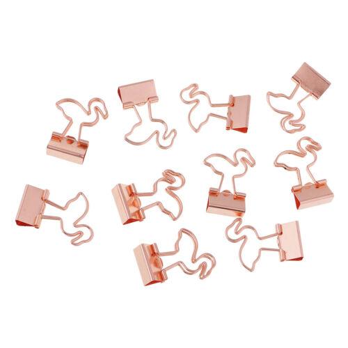 10x Flamingo Metall Foldback Binder Clips Stationäre Büroklammer Heftklammer
