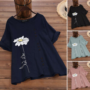 Women-039-s-Summer-T-Shirt-Tops-Loose-Blouse-Casual-Round-Neck-Tee-Shirt-Plus-Tops