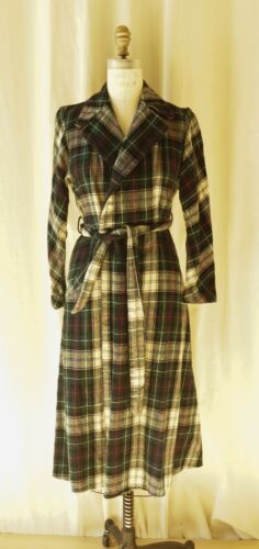 1930s Wool Plaid Housecoat Mabel Grey Canada Engli