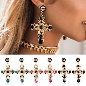 1b8458187026 La imagen se está cargando Mujer-Pendientes-de-boton-barroco-cruz-cristal- joyeria-