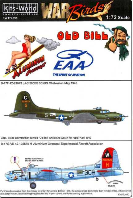 Kits World Decals 1//48 B-17 FLYING FORTRESSS from the Movie MEMPHIS BELLE