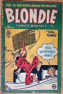 Blondie Comics Monthly - KIng Feature - Chic Young - n°31 - June 1951 - France - État : Occasion: Objet ayant été utilisé. Consulter la description du vendeur pour avoir plus de détails sur les éventuelles imperfections. ... Thme: Humour Numéro de publication: 31 Auteur: Chic Young Personnage: Blondie Série: Blondie