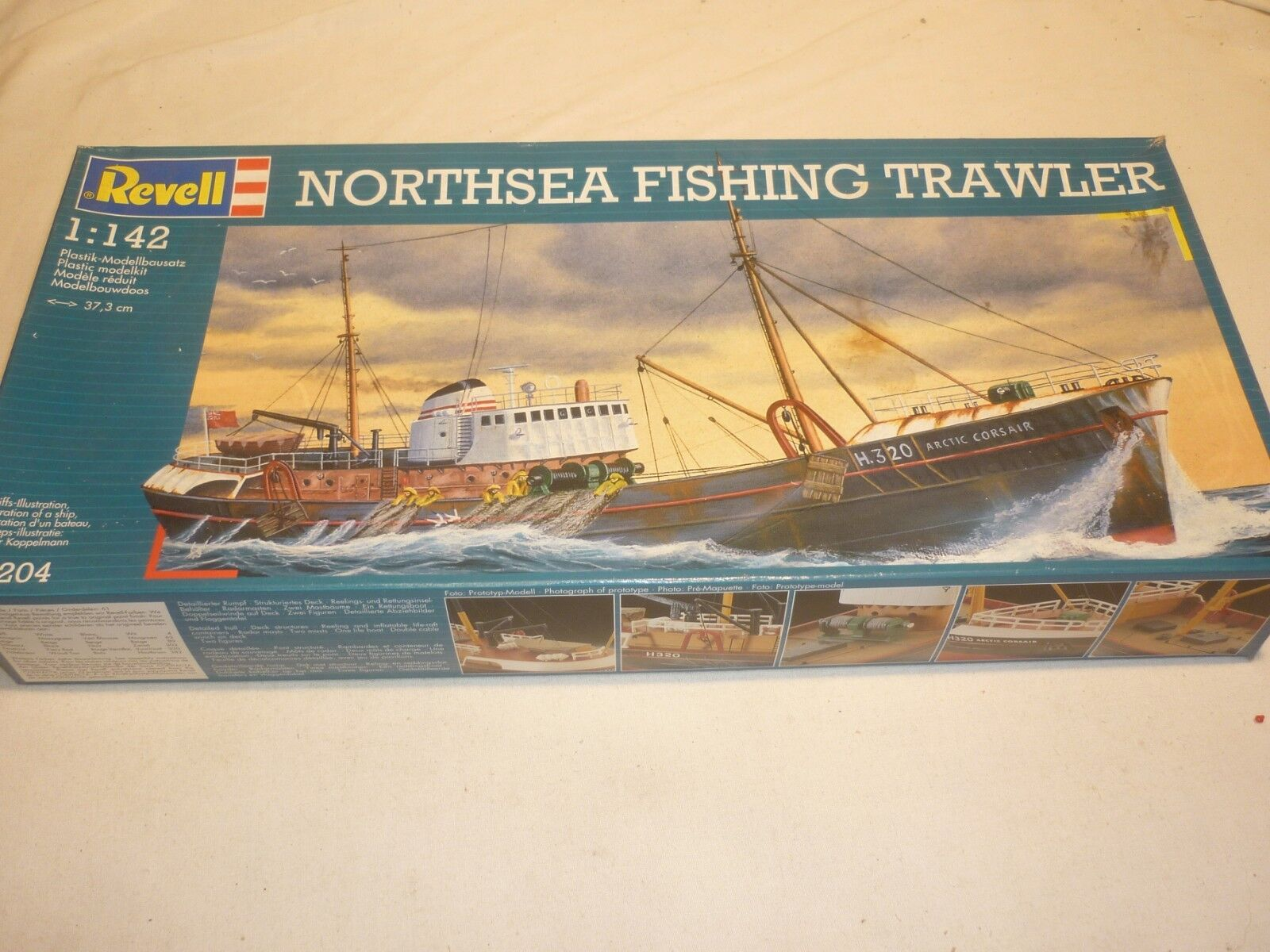 A Revell started plastic kit of a NORTHSEA Fishing trawler, Boxed