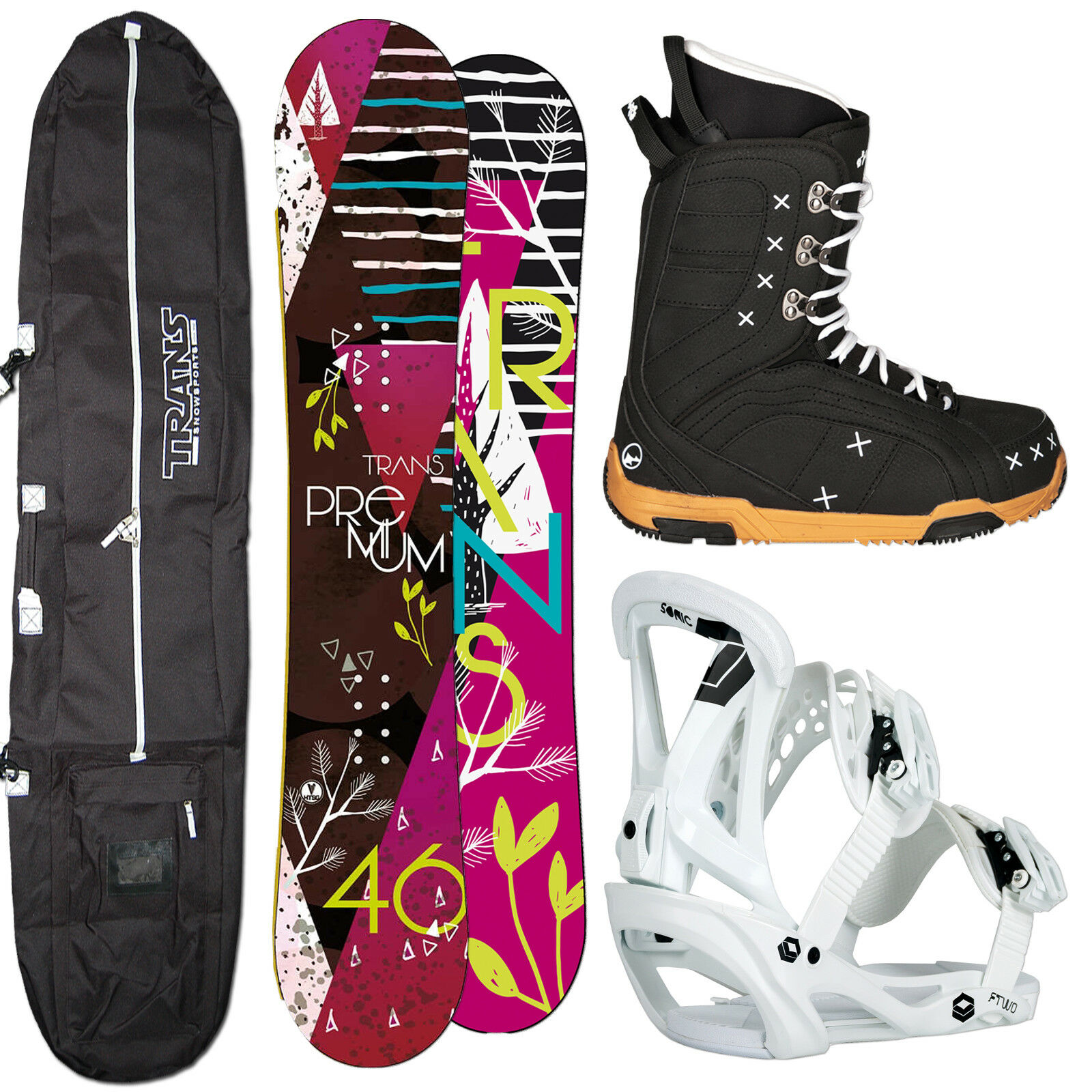 Women's Snowboard Trans Premium 155 cm Berry + Sonic Binding SIZE M + Boots+ Bag