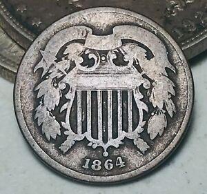 1864 Two Cent Piece 2C Ungraded Good Date Civil War Era US Copper Coin CC5819