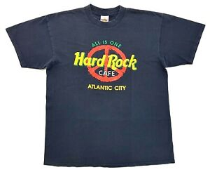 Vintage-Hard-Rock-Cafe-All-One-Peace-Tee-Navy-Size-L-Mens-T-Shirt-Atlantic-City