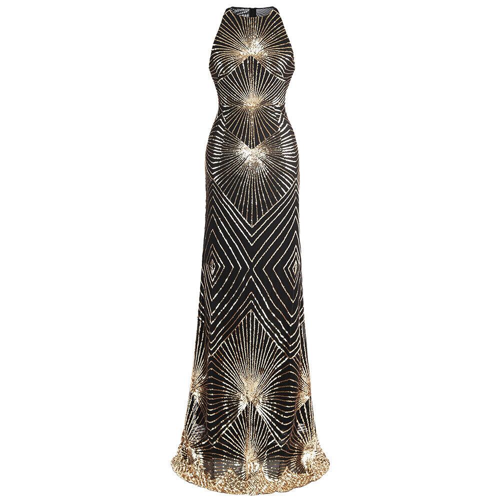 Angel-fashions Damen Gold Paillette Art Deco Säule Spakle Lange Abendkleid 402