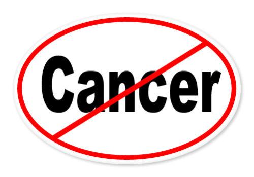 "No Cancer Oval car window bumper sticker decal 5/"" x 3/"""