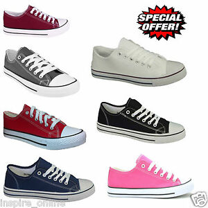 NEW-MENS-UNISEX-LADIES-FLAT-CASUAL-LACE-UP-CANVAS-TRAINERS-PLIMOSOLL-PUMPS-SIZE