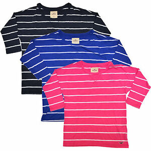 Hollister-Womens-T-Shirt-Tee-Bettys-Striped-Scoop-Neck-Seagull-xs-s-m-V427