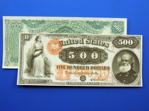 Reproduction  Paper Money 1870 $500 Gold Cert US Currency Copy Note
