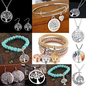 Tree-Of-Life-Charm-Silver-Chain-Women-Necklace-Earrings-Bracelets-Wedding-Gifts