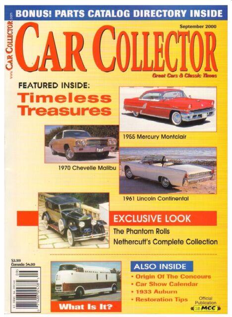 Car Collector September 2000--1933 Auburn, 70 Chevrolet, 61 Lincoln, 55 Mercury