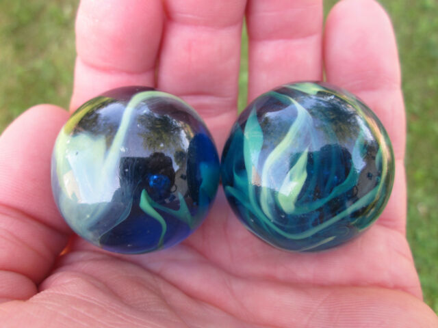 2 BOULDERS 35mm SEA TURTLE Marbles Glass Ball Clear Blue Green LARGE HUGE Swirl