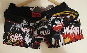 Nuovo con Superman Boxer Cotone Taglia L Shorts etichette AYXpwOY