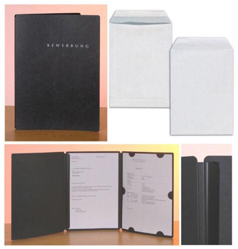 Umschläge 6 schwarze Bewerbungsmappen PAGNA Select  3-teilig mit Klemmschiene