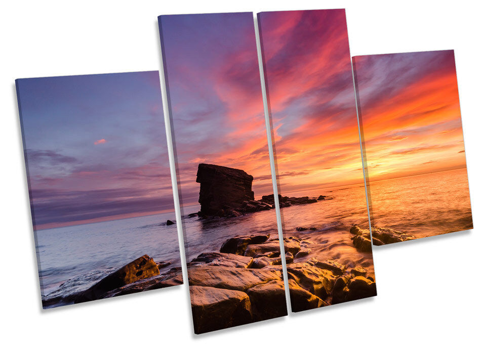 Collywell Bay Northumberland Sunset CANVAS WALL ART MULTI Panel Print Picture