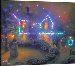 Heart of Christmas Fiber Optic Canvas Wall Hanging w/Remote ~ Thomas Kinkade