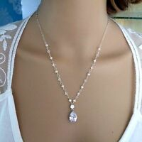 Designer Crystal And Freshwater Pearl Bridal Necklace Sterling Silver Cz Jewelry