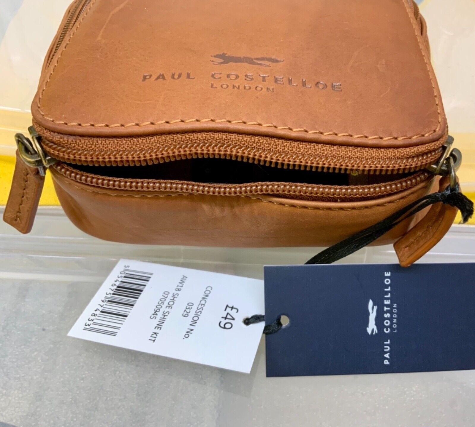 Paul Costelloe leather bag. Shoe cleaning kit travel set. Smart gift set BNWT