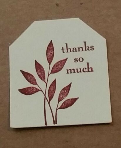 "Pk50./""Thank you so much/"" Handmade stamped,Small 3.5x4cm  cherry red gift tags"