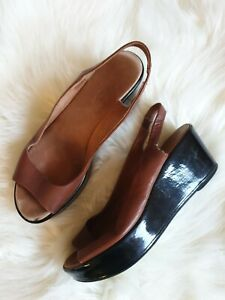 HOBBS-Women-039-s-Shoes-Wedges-Brown-Tan-Leather-Round-Open-Toe-Pull-On-UK-4-Holiday