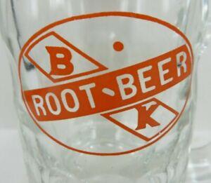 """vintage BK ROOT BEER HEAVY handle mug glass ORANGE ACL PAINT 4 5/16"""" B & K"""