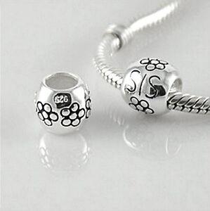 SISTER-SIS-flower-Solid-925-sterling-silver-European-charm-bead
