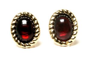 9ct-Gold-Garnet-Rope-Edge-oval-Stud-earrings-Made-in-UK-Gift-Boxed