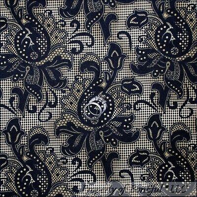 BonEful Fabric FQ Cotton Quilt Brown Black Paisley Swirl Scroll Lg Flower Damask