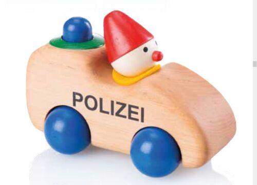 Pfingstweid 120006 Quietscher-Auto aus Holz Polizeiwicht mit Hupe Erle