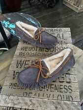 $100 Ugg Australia Dakota Charcoal Gray Leather Moccasin Slippers Wmns 8 DEFECT