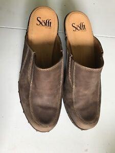 Sofft-Womans-Brown-Leather-Backless-Heel-Clog-Slide-Mule-Mock-Toe-stitching-7-5M